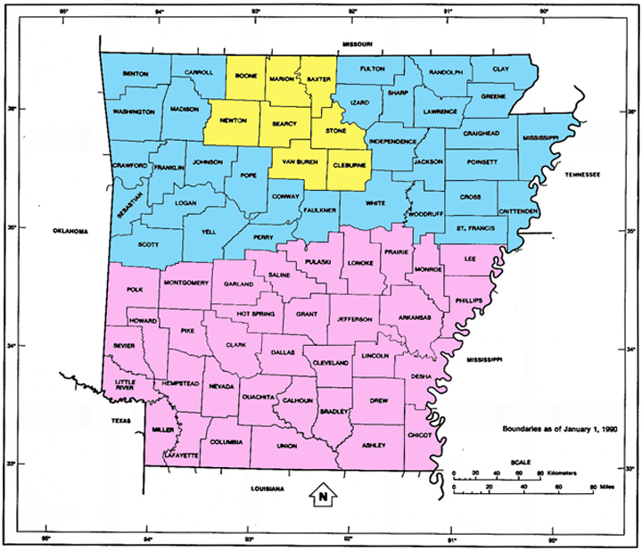 Arkansas Color Coded Map