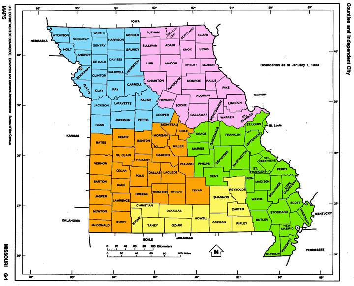 MissouriColorCodedMap - Missouri counties map