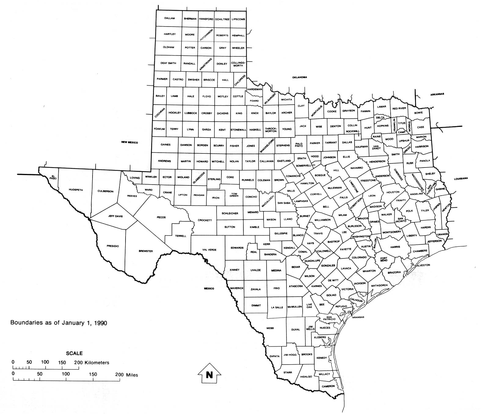 Texas State Map with counties outline and location of each county in