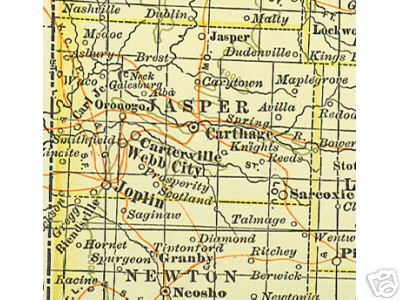Jasper County Missouri Genealogy History Maps With Joplin - Map of cities in missouri