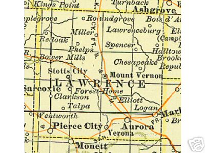 Early map of Lawrence County, Missouri including Mount Vernon, Pierce City, Aurora, Stotts City, Miller, Halltown, Peirce City