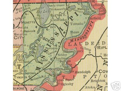 Early map of Mississippi County, Arkansas including Osceola, Blytheville, Leachville, Luxora, Tyronzo, Carson, Tomlinson