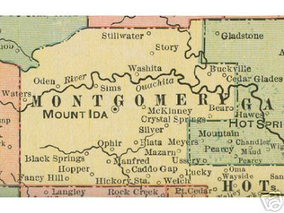 Early map of Montgomery County, Arkansas including Mount Ida, Oden, Washita, Ophir, Caddo Gap, Hopper, Mazarn