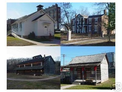 Newton County Missouri views including, Jolly Mill, Ritchey Mansion, pioneer cabin, early school