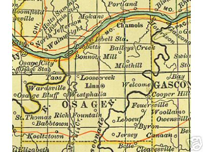 Early map of Osage County, Missouri including Linn, Westphalia, Rich Fountain, Babbtown, Chamois, Bonnots Mill