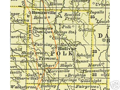 Early map of Polk County, Missouri including Bolivar, Humansville, Fair Play, Morrisville, Brighton, Aldrich
