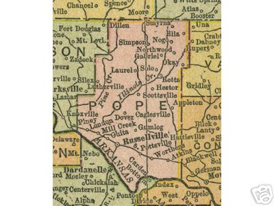 Pope County Arkansas Genealogy History Maps With Russellville - Arkansas county map