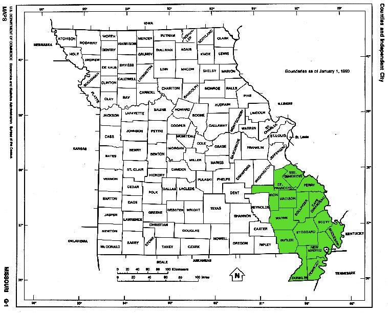 Southeast Missouri Map - Missouri counties map