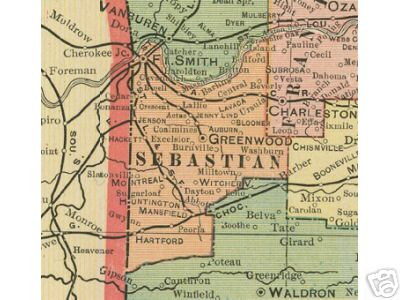Early map of Sebastian County, Arkansas in cluding Ft. Smith, Greenwood, Huntington, Mansfield, Hartford, Lavaca, Fort Smith